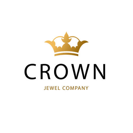 Golden sign crown king. Design modern symbol princess crown for Business.