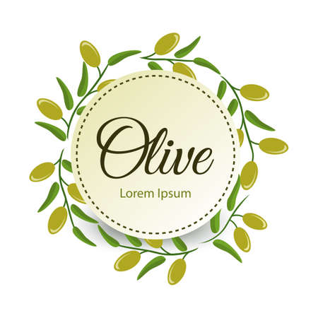 Frame with green olive branches on white background.