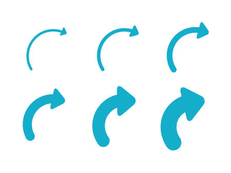 Set Arrows and directions signs right. Blue Vector arrows isolated