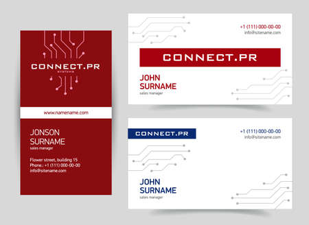 Business card with a technological design. Electronics