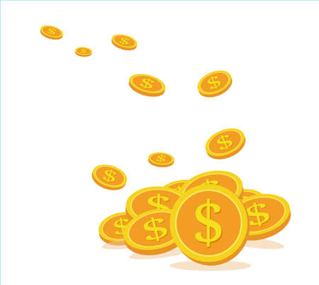 Business concept, Flying coins are collected in a large pile of gold. Illustration