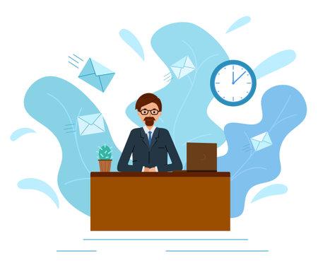 businessman in a suit working on a laptop computer. Concept deadline, Illustration