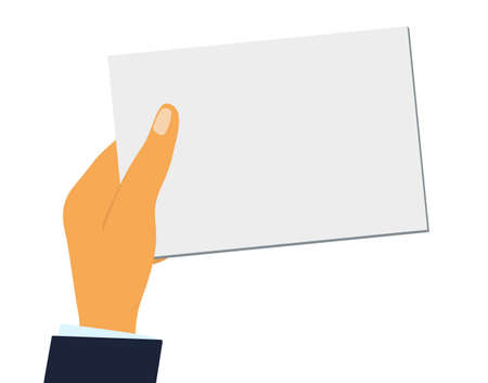 hand holds a blank sheet of paper or a business card. Flat design Illustration