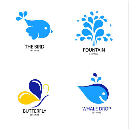 Design modern icon bird, whale, butterfly, fountain for Business.