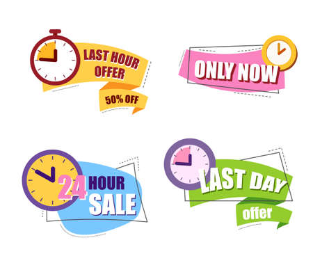 Sale countdown badges. last hour offer, only now, 24 hour sale, last day offer.. Illustration