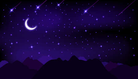 Night starry sky with stars, moon and mountains.