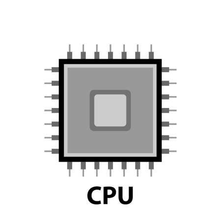 circuit board cpu, vector illustration in black and white. Illustration