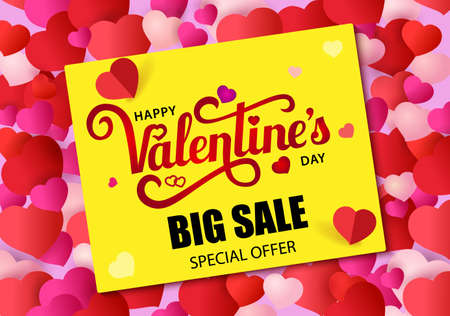 Design banner with lettering Happy Valentine s Day.