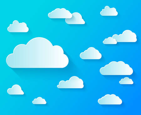 Set Different shapes of clouds on clear blue sky. Illustration