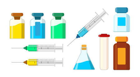 Set of isolated medical items. A syringe with an injection and needle, pharmacology liquid,