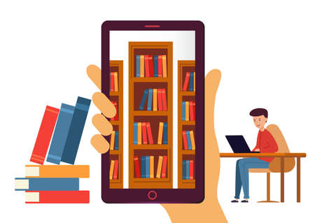Online library with e-books. Hand holding a mobile or tablet with bookshelves inside.