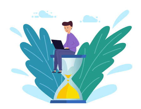 young Man sits on an hourglass and works on a laptop. Business process,