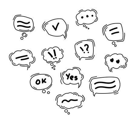 Black Speech bubble line icons. Hand drawn doodle. Dialog speech bubble
