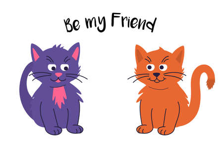 Two cute domestic cats sit next to each other and it says be my friend. Illustration