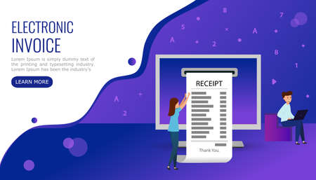 People make online purchases and receive an electronic invoice. Illustration