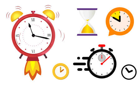 Concept quickly approaching deadline. Big set of different color clock icons.