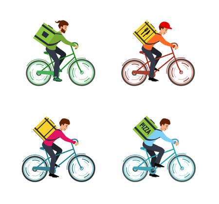 Set illustration Courier on Bicycle with box.