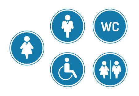 WC toilet sign icons for toilet door. Blue circle Set Washroom