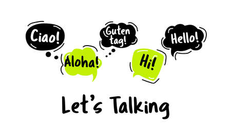 Speech Bubble. Hello, in different languages of the world. Hand drawn doodle