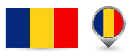 Vector flag Romania. Location point with flag Romania inside.