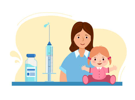 Concept vaccination of children. Mom and child in medical clinic.