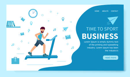 Business. Time to sport. Template of the landing page. Businessman trains Illustration