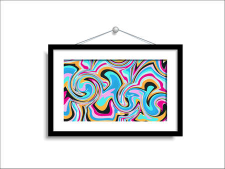 Abstract paintings hang on the wall. Abstract art in a gallery on a white background. Illustration