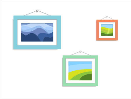 Abstract photo nature. Abstract paintings hang on the wall. Illustration