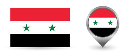 Vector flag Syria. Location point with flag Syria inside. Illustration