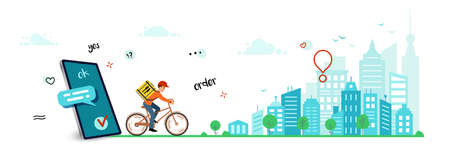 Delivery online order, horizontal banner. Courier goes around city