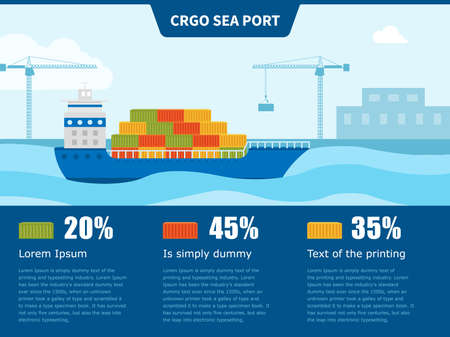 Cargo ship sails to port for loading or unloading. infographics or poster