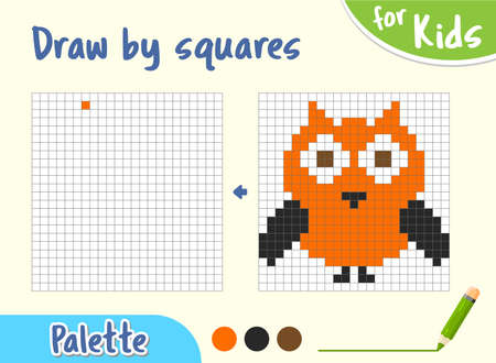 Copy the picture. Game for small children draw an owl by cells.