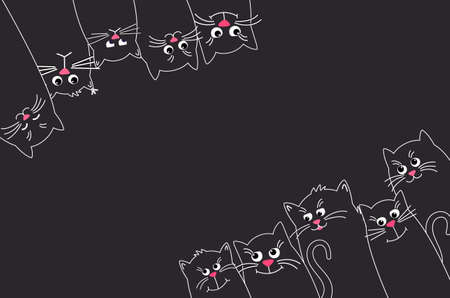 Black Cats look up and down. Banner with many Cute pet Illustration