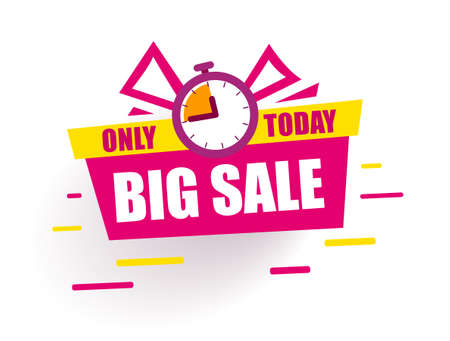 Sticker Big Sale. Red gift box says sale only today. Discount tags