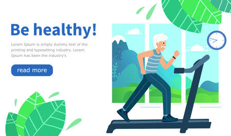 Design Website be healthy. Old Man runs on a treadmill in a room against