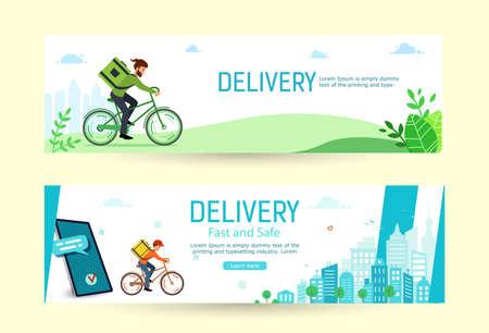 Delivery online order, horizontal banners. Making an online order Illustration