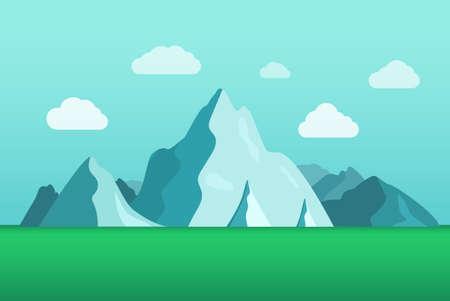 Flat beautiful mountain landscape. Summer season vacation concept.