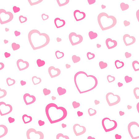 Pink pattern with hearts. Chaotic pattern hearts. Seamless
