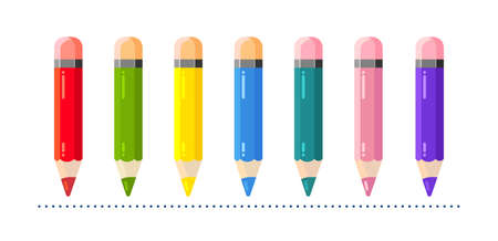 Childrens colored pencils for drawing in flat style. Illustration