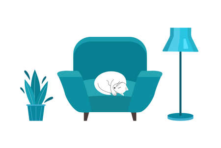 Cute cat is sleeping on chair isolated on white. Concept of cozy home. Illustration