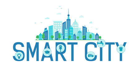 text Smart city. Modern blue city. Vector infographics
