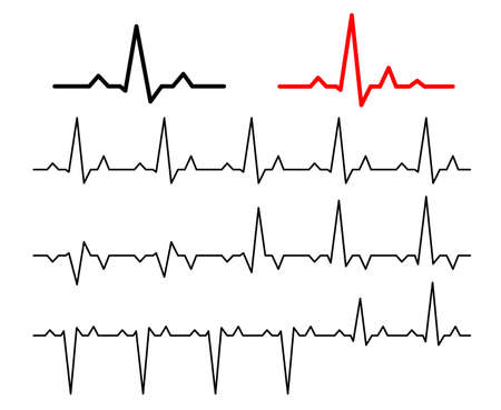 Set Lines heartbeat normal. Line cardiogram heart on white background.