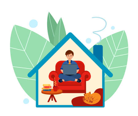 Man sits on chair and works on laptop or studies. Stay at home. Illustration