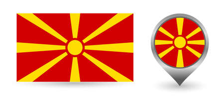 Vector flag Macedonia. Location point with flag Macedonia inside.