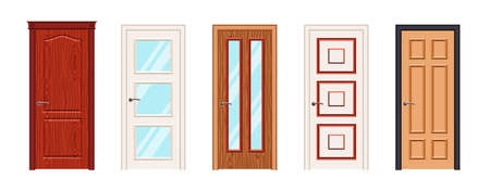 Interior or Entrance doors isolated on white background. Illustration
