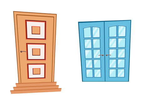 Doors and window in cartoon style. Vector brown Doors and blue window isolated.