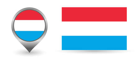 Vector flag Luxembourg. Location point with flag Luxembourg Illustration