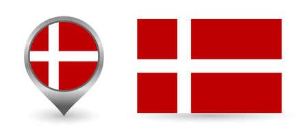 Vector flag Denmark. Location point with flag Denmark inside.
