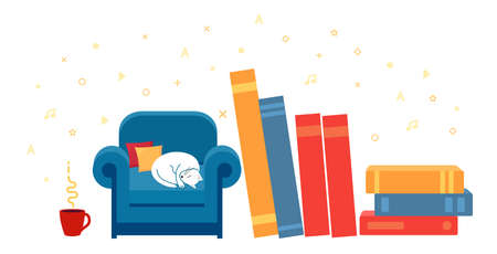 Concept of cozy home and reading. There books and mug of tea around chair. Illustration