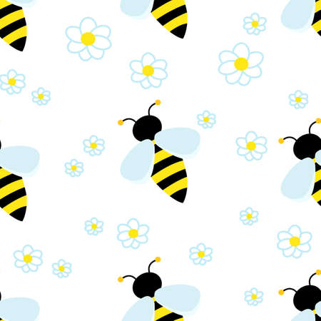Cute striped Bee around white flowers chamomile. Vector Seamless pattern.